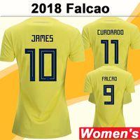 2018 Copa Mundial Falcao James Mujeres Jerseys Equipo Nacional Cuadrado Bacca Sánchez CAMISETAS DE FÚTBOL DE LA CASA AGUILLAR UNIFORMES DE MANERA CORTE