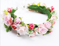 Bridal Wedding Ghirlands Handmade Flower Girls Girls Simulation Flowers Corona Bambini Beach Vacanze Corona Partito Accessori per capelli Y1526