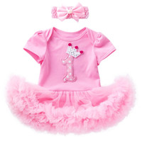 Newborn babies girls 1st 2nd birthday dress up one- piece rom...