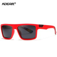 KDEAM 스트레이트 등선 사각형 편광 선글라스 남성 브랜드의 서명 태양 안경 스포츠 선글라스는 보호 케이스를 포함