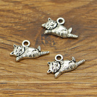 Cat Charms Animale Pet Kitten Gattino Pussycat Pendenti di Fascini 100 pz / lotto Tono Argento Antico 20x10mm 1914