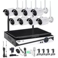 Hiseeu 10 인치 디스플레이 어 8 채널 1200P 무선 CCTV 시스템 NVR IP 카메라 IR-CUT 총알 CCTV 홈 보안 시스템 CCTV 키트