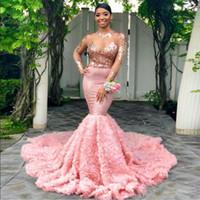 Robes de bal sexy sirène rose bijou cou illusion robes de soirée à manches longues fleur 3d balayage train sud robes de bal africal