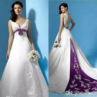 Vestidos de boda blancos y púrpuras Imperio Cintura con cuello en V Apliques Satén Vestidos nupciales Sweep Train Plus Tamaño Una línea Vestido de novia