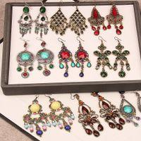 Смешать старинные Boho Этнические Серьги Для Женщин с бриллиантовой смолой с длинными кисточками, с подвеской, висят, бронзовые, серебряные Серьги.
