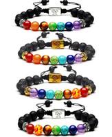4 Style 7 Chakra Guérison Bracelet Roche volcanique volcanique Pierres précieuses naturelles Guérison Yoga Bracelets pour hommes et femmes