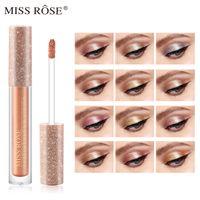 العلامة التجارية الجديدة ظلال العيون 12 لون ماكياج العين الظل ملكة جمال روز المعادن الرائعة بريق وتوهج ظلال عينيه السائل