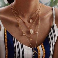 Quatre couches Collier alliage coquille naturelle conque oscillation étoiles lune pendentif perle plastique blanc couleur or chaîne en métal plaqué O
