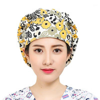 Women Men Floral Print Adjustable Scrub Cap Nurses Kitchen C...