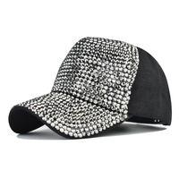 Moda Flash Diamante Boné de Beisebol Luz Placa Tampões Lavado Broca Quente Bonés Ao Ar Livre Ladies Sun Hat
