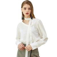 Moda semplice ed elegante obliquo con scollo a V stendardo pulsante decorazione moda femminile a maniche lunghe camicia bianca taglia S-2XL
