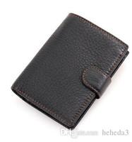 Fashion Genuine Cow Leather Men RFID Wallet Small Zipper Men...