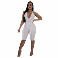 Damen Jumpsuits Strampler Tiefem V-Ausschnitt Sexy ärmellose Shorts Jumpsuits Gürtel Design dünne weiche Anzüge Halter