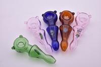 Mini 10cm buntes lustiges Karikaturglastabaklöffel-Rohrglas kommen Uhr Fernsehgurkenhandrohr für rauchendes trockenes Kraut