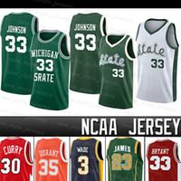 NCAA MICHIGAN State Spartans 33 Earvin رجالي جونسون جيرسي ريتشيز كاري ليبرون واد جيمس ديفيدسون كلية كرة السلة جيرسي