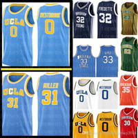 UCLA Reggie Miller 31 Russell Westbrook 0 Jersey Larry 33 Pássaro Indiana State Jimmer Fredette 32 Brigham Young Cougars Basketball Jerseys