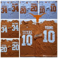 Mens Texas Longhorns Laranja Branco 10 Vince Young 34 Ricky Williams 20 Earl Campbell College Football Jerseys S-XXXL