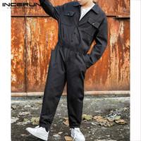 INCERUN мода мужчины грузовой комбинезон панк стиль хип-хоп карманы брюки свободные твердые с длинным рукавом комбинезон мужчины комбинезон уличная одежда 2019