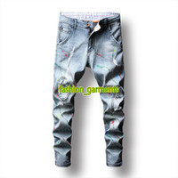 Nouveau mode Trou Graffiti Jeans Hommes auto-culture stretch crayon PANTALON styliste Tide Hip Hop Jeans