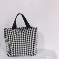 Buffalo Check сумки хлопок Plaid сумки на ремне Женщины сумок большой емкости для путешествий Tote Спорт хранения сумки обед сумки GGA3480