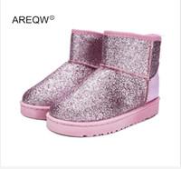 AREQW 2017 новый зимний снег сапоги блестки классические женские короткие сапоги мода Женская обувь толстые хлопчатобумажные сапоги