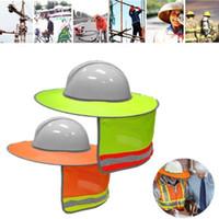 Geniş Ağız Şapkalar Sarı Turuncu Şapka Açık İnşaat Güvenlik Sert Güneş Gölge Boyun Kalkanı Yansıtıcı Şerit Koruyucu Kasklar Kalkanı1