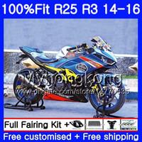 جديد الأزرق الأحمر الأعلى حقن ل Yamaha YZFR25 YZF R2 2014 2015 2016 2017 240HM.25 YZF-R25 YZF-R3 R 25 Body YZFR3 14 15 16 17 Fairings Kit