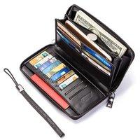 Genuine Leather Fashion Men Wallet Clutch Holder maschio di marca della carta lungo cerniera Intorno viaggio borsa con il passaporto di caso Phone Holder