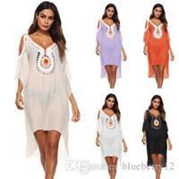 Günlük Elbiseler Bohemian Boho Elbise Yaz Nakış Kadın Batwings Kollu Plaj Seksi V Yaka Gevşek Asimetrik Ücretsiz Boyutu