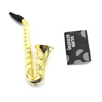 AUF LAGER Brand New Gold Saxophon Pfeife mit Bildschirmen Griff Löffel Pfeife Metallrohr für trockene Kräuter