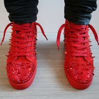 2019 New Quality Red Bottom Sneaker Spiked Uomo strass brillante strass Pik Pik Gold Sneakers Alta Top Lace-up Discount