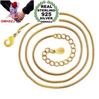 Mujer Moda Hombre OMHXZJ clásico al por mayor de regalos de alta calidad de 24K 44cm 17 pulgadas 24K oro redondo hueso de la serpiente de accesorios Collares NK34