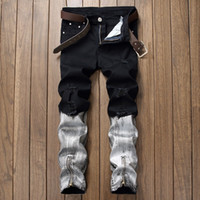 NEW 2019 Autumn Winter Cut rotten jeans denim patchwork whit...