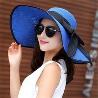 Visera de arco cubierta de moda directa de fábrica Sombrero de paja grande Sombrero de sol plegable de verano Sombrero de playa protector solar femenino