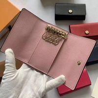 Nueva señora del monedero clave titular de la clave multicolor de cuero de calidad superior al por mayor corta de seis cartera clave para las mujeres de la cadena de bolsillo con cremallera clásica