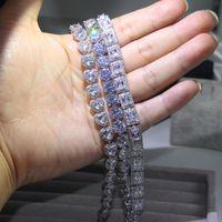 3 Style Victoria Jewelry di lusso Shinning 925 sterling argento piena principessa taglio bianco topazio cz diamante Romania Braccialetto da sposa per le donne