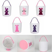 GGA3028 Candy Sequin Baskets Gift Bag Canvas Easter Tote Rabbit Carry Plush 12styles Eggs Round Bottom Storage Handbags Basket Vjwww