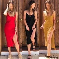 Moda Kadınlar Yaz Boho Casual Seksi Yan Bölünmüş strappy Vestido Uzun Midi Akşam Parti Clubwear Plaj Elbise