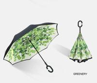 paraguas inversa paraguas de mango largo Nuevo diseño de doble cara inversa invertida logotipo logotipo personalizado paraguas felpa de tamaño paraguas de impresión personalizada