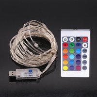 Luci della stringa di 16ft LED USB multi colore che cambia le luci della stringa del filo di rame con telecomando Luci impermeabili per il giardino di Natale Patio