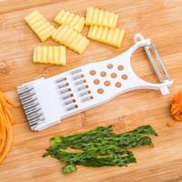de acero inoxidable de múltiples funciones de la fruta del cortador máquina de cortar pelador rallador de verduras pelar cortador de accesorios de cocina máquina de cortar XD22608