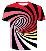 Top Università disegno casuale allentato stampato abbigliamento estivo T-shirt nuova vertigini astratta stereogram Stampa manica corta abbigliamento T-shirt