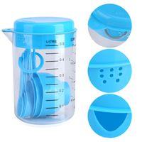Azul De Plástico De Medição Copo De Cozinha Ferramentas De Medição Conjuntos De Colheres De Cozinha Baking Café Colheres Formadas 7 Pçs / set