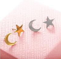 New Romantic Pequeno Ouro / Prata / Estrela Lua Linda Forma de Coração Do Parafuso Prisioneiro Brincos Mulheres Presente Da Menina Presente e0206