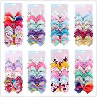 6PCS / SET Bebek Şerit Bow Firkete Klipler Karikatür Kızlar ilmek Barrette Sequind Katı Renk Saç Butik Aksesuarları Doğum Günü Hediyeleri E31604