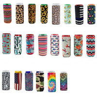Slim Can Beer manches Isolants en néoprène Beverage Cooler Cover Pliable Cola Soda Bottle Koozies Cactus Leopard Can manches CGY391