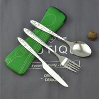 torba Sofra ile Taşınabilir çatal bıçak seti Paslanmaz Çelik Sofra Kamp Çatal Kaşık Bıçak 3pcs / set mutfak aksesuarları LXL239-A1 set