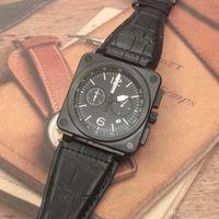Top Patrimoine Spécial Quartz Chronographe Montres Outdoor Hommes B-109 Diver bracelet en cuir cadran noir Montres-bracelets