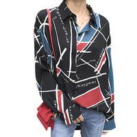 Mousseline de soie élégante chemise femmes Blouses Chemise 2019 TURN-Col Automne manches longues imprimé géométrique Blusas Feminina Tops
