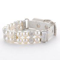 Chien Col blanc brillant perle en cuir Bijoux de diamant Chien Chat collier de chien réglable de chat Accessoires Collier Produits pour animaux de compagnie
